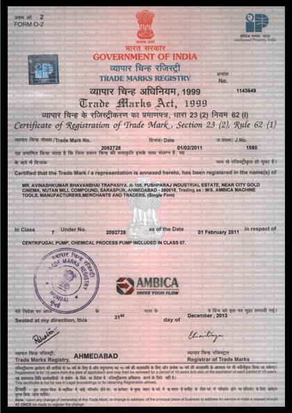 Trade Mark Certificate